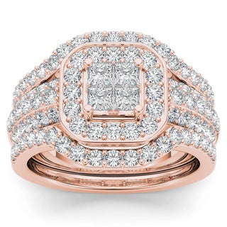De Couer 10k Rose Gold 1 3/4ct TDW Diamond Halo Engagement Ring Set with Two Bands (H-I, I2)