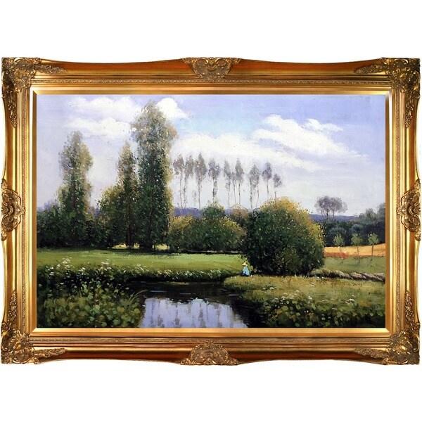 Claude Monet 'View at Rouelles Le Havre' Hand Painted Framed Canvas Art