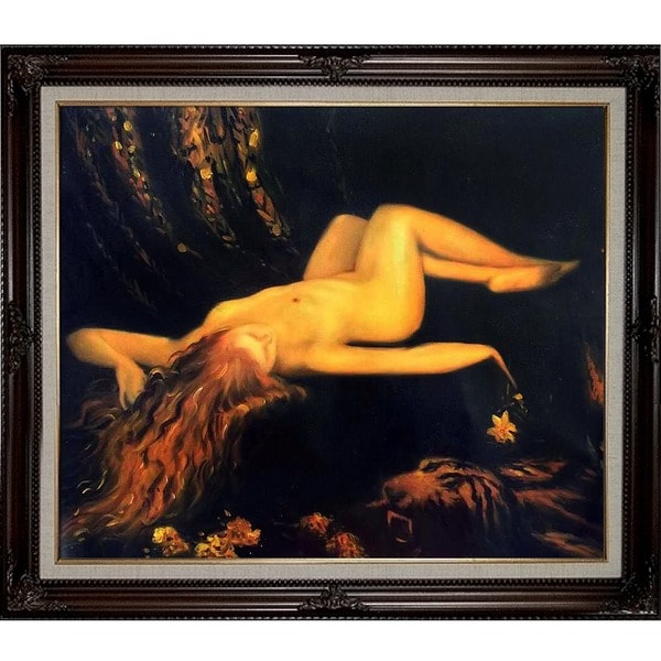 Frederic Leighton 'To Sleep' Hand Painted Framed Canvas Art