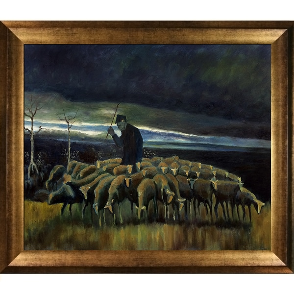 Vincent Van Gogh 'Shepherd with a Flock of Sheep' Hand Painted Framed Canvas Art