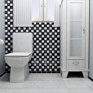 SomerTile 12.5x12.5-inch Knight Matte Black and White Checkerboard Porcelain Floor and Wall Tile (Case of 10)