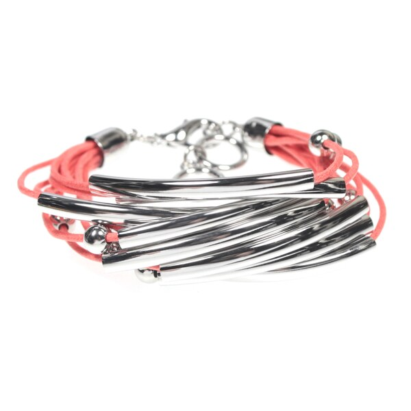 Sparkling Tube and Bead Salmon Pink Multi Cord Bangle Cuff Bracelet