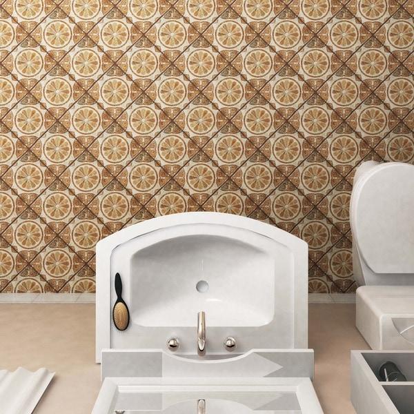 SomerTile 7.75x7.75-inch Gavras Arena Dcor Starflower Ceramic Floor and Wall Tile (Case of 25)