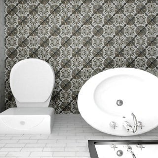 SomerTile 7.75x7.75-inch Gavras Cendra Décor Daisy Ceramic Floor and Wall Tile (Case of 25)