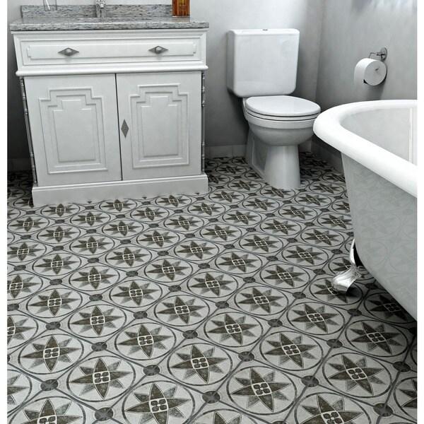SomerTile 7.75x7.75-inch Gavras Cendra Dcor Starflower Ceramic Floor and Wall Tile (Case of 25)
