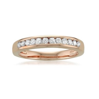 14k Rose Gold 1/4ct TDW Round-cut White Diamond Channel-Set Wedding Band (G-H, SI1-SI2)