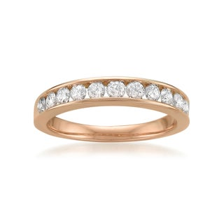 14k or 18k Rose Gold 1/2ct TDW White Diamond Channel-set Wedding Band (G-H, SI1-SI2)