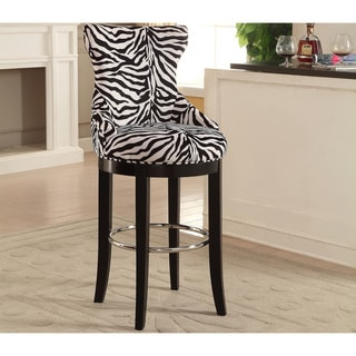 Peace Modern and Contemporary Zebra-print Patterned Fabric Upholstered Bar Stool with Metal Footrest