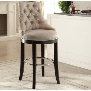 Harmony Modern and Contemporary Button-tufted Beige Fabric Upholstered Bar Stool with Metal Footrest