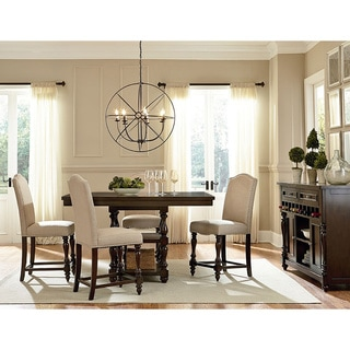 Wakefield Shabby Chic French Vintage Oak Brown 5-Piece Square Counter Dining Set with 42-inch Extendable Pub Table
