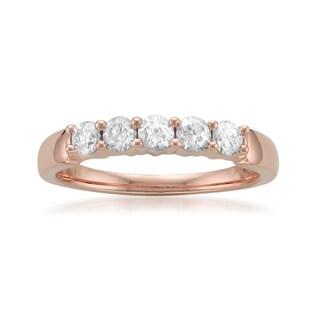 14k or 18k Rose Gold 1/2ct TDW White Diamond Prong-set Wedding Band (G-H, SI1-SI2)