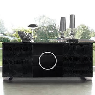 Luca Home Black Patterned Leather Buffet