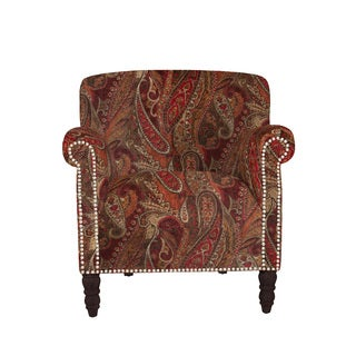 angelo:HOME Carissa Soft Velvety Paisley Red Wine Arm Chair