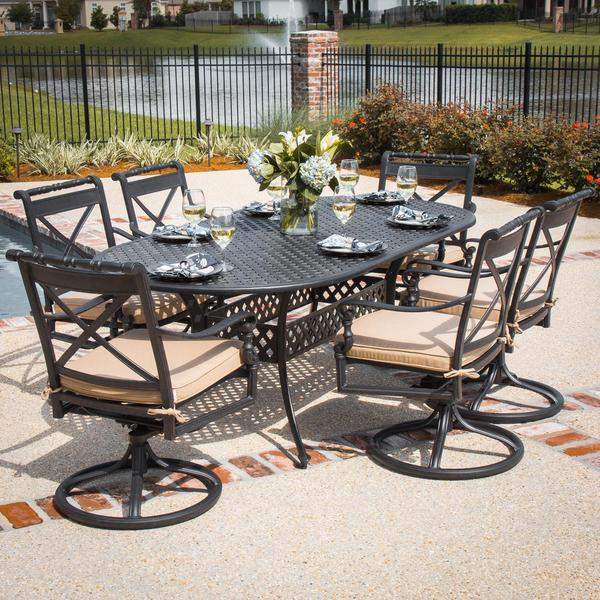 carrolton 7 cast aluminum patio dining set with