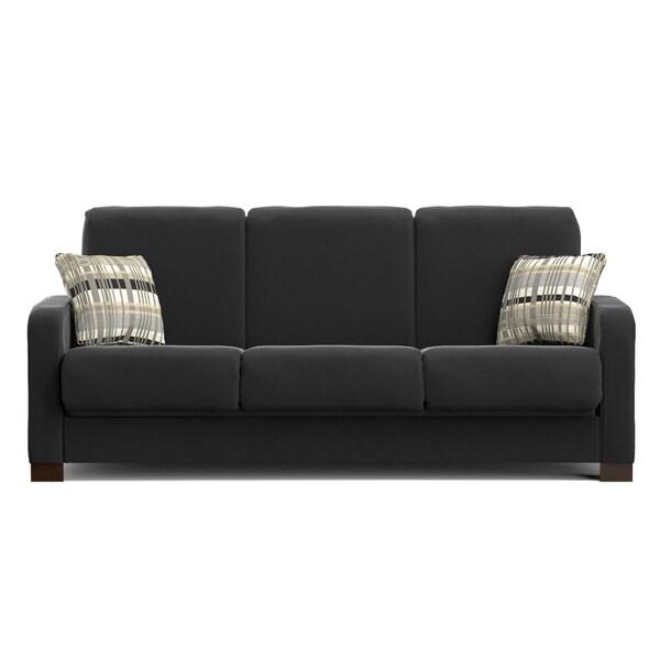 Portfolio Trace Convert-a-Couch Black Microfiber Futon Sofa Sleeper