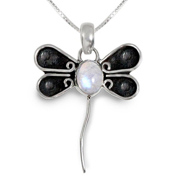 Moonstone Dragonfly Design Sterling Silver 18 inch Pendant Necklace