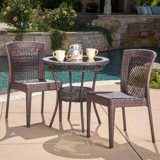 Christopher Knight Home Farley Outdoor Multi-Brown Wicker Bistro Set
