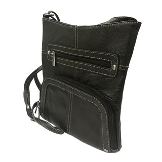 Continental Leather Built in Card Organizer Crossbody Bag