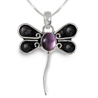 Amethyst Dragonfly Design Sterling Silver 18 inch Pendant Necklace
