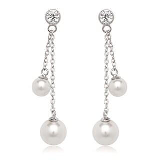 La Preciosa Sterling Silver Cubic Zirconia and Faux Pearl Dangle Earrings
