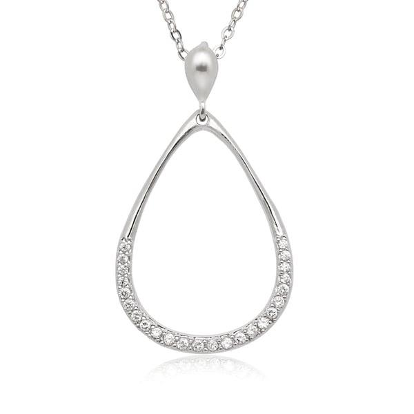 La Preciosa Sterling Silver Cubic Zirconia Open Teardrop Pendant