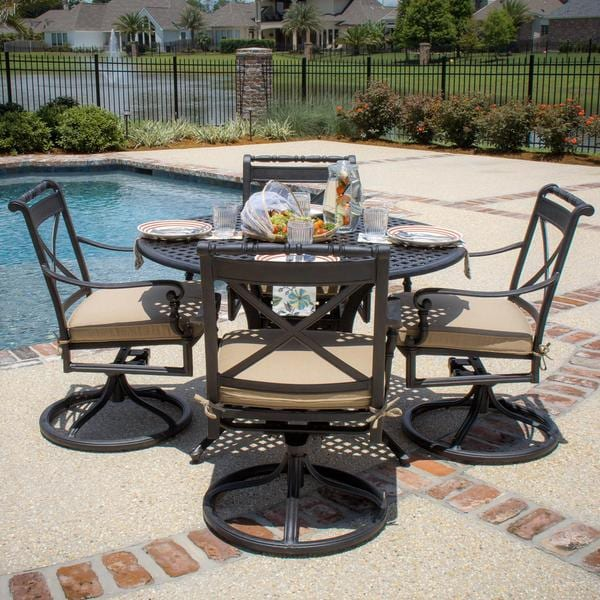 Carrolton Empat Person Cast Aluminum Patio Dining Set With Swivel Rockers And Round Table Free