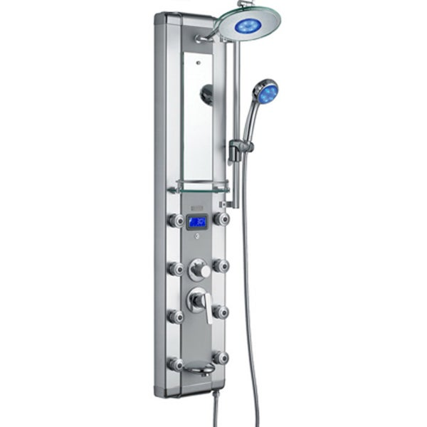 AKDY 51-inch Aluminum Shower Panel with Tower Massage Spa System Kits LED Rainfall Showerhead and Shower Wand 15776946