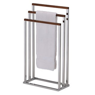 K & B BS-1353 Towel Stand Chrome / Walnut Finish
