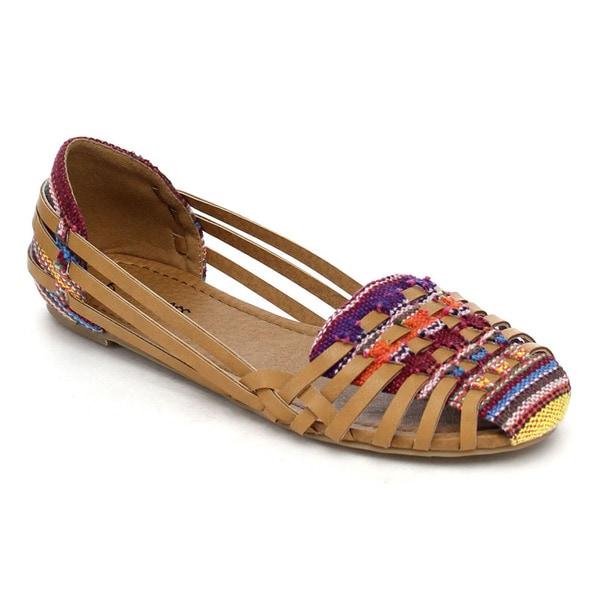 Bonnibel Boheme-1 Women's Multi Color Woven Like Strappy Slip On Flat Sandals