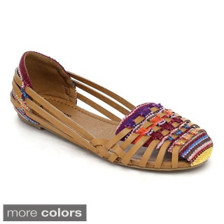 Bonnibel Boheme-1 Women's Multi Color Woven Like Strappy Slip On Flat Sandals