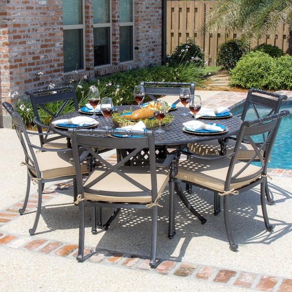 carrolton 6 person cast aluminum patio dining set with round table