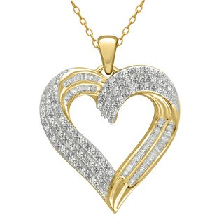 14k Yellow Gold over Silver 1/2ct TDW Diamond Heart Pendant (I-J, I2-I3)