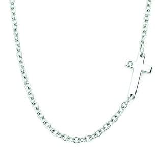 Boston Bay Diamonds Sterling Silver Diamond Accent Petite Sideways Cross Fashion Ring