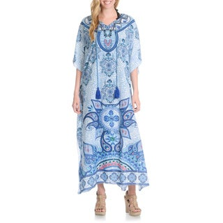 La Cera Women's Printed Tassel Neck Cover Up (One Size)