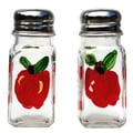 Hand-painted Red Apple Glass Salt and Pepper Shaker Set