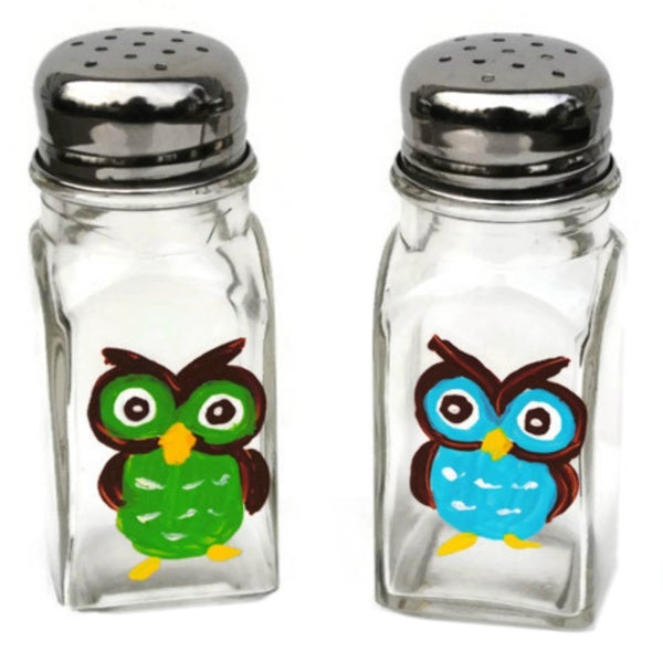 Hand-painted Whimsical Owl Glass Salt and Pepper Shaker Set