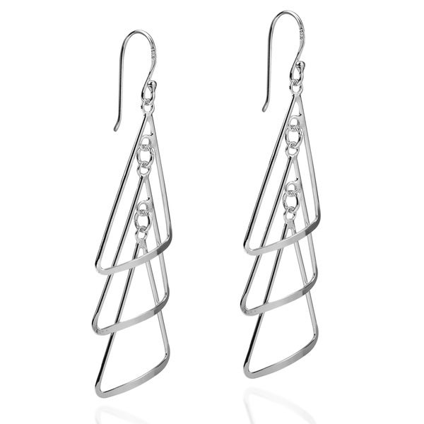 Triangle Chandelier Sterling Silver Dangle Earrings (Thailand)