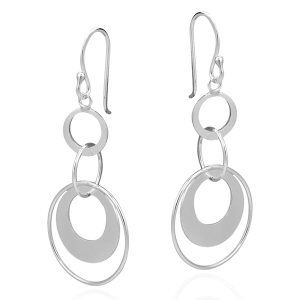Circle Cascade .925 Sterling Silver Dangle Earrings (Thailand )