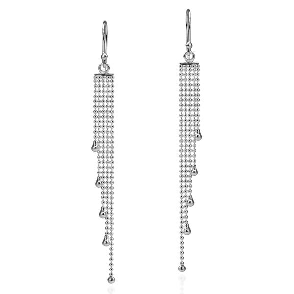 Multi Beaded Chain Drop .925 Sterling Silver Earrings (Thailand)