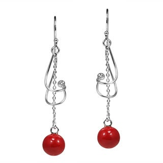 Twisted Red Coral Pendulum Sterling Silver Dangle Earrings (Thailand)