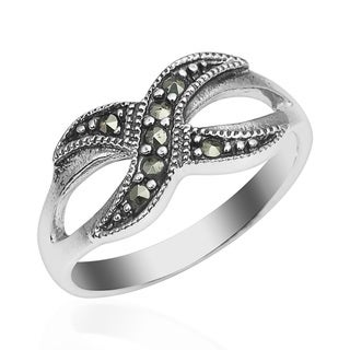 Marcasite Forever Infinity Love Sterling Silver Ring (Thailand)