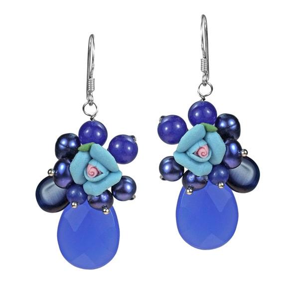 Twilight Rose Agate Teardrop Cluster .925 Silver Earrings (Thailand)
