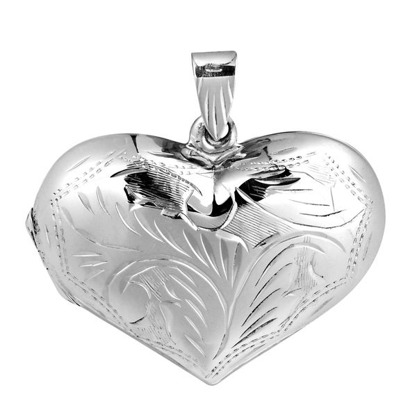 Secret of the Heart .925 Sterling Silver Etched Locket (Thailand)