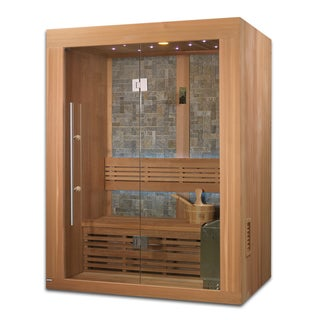 Vasteras 2-3 Person Luxury Edition Natural Canadian Red Cedar Wood Traditional Steam Sauna