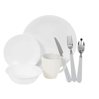 Corelle Winter Frost White Dinnerware 16-piece Set with 12-piece Flatware Set (Service for 4)