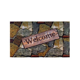"Orchard Stone Welcome Outdoor Rubber Mat (18"" x 30"")"