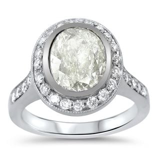 Noori 14k White Gold 2 1/2ct TDW Oval Diamond Engagement Ring (G-H, SI1-SI2)
