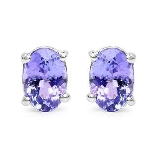 Malaika Sterling Silver 1 1/2ct Tanzanite Earrings