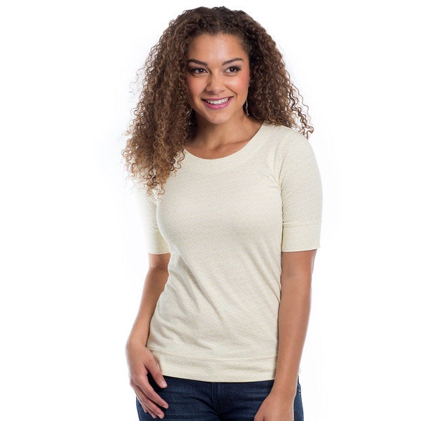 DownEast Basics Women's Qwerty Printed Half Sleeve Top