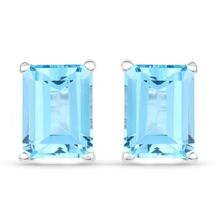 Malaika Sterling Silver 3 3/4ct Swiss Blue Topaz Earrings